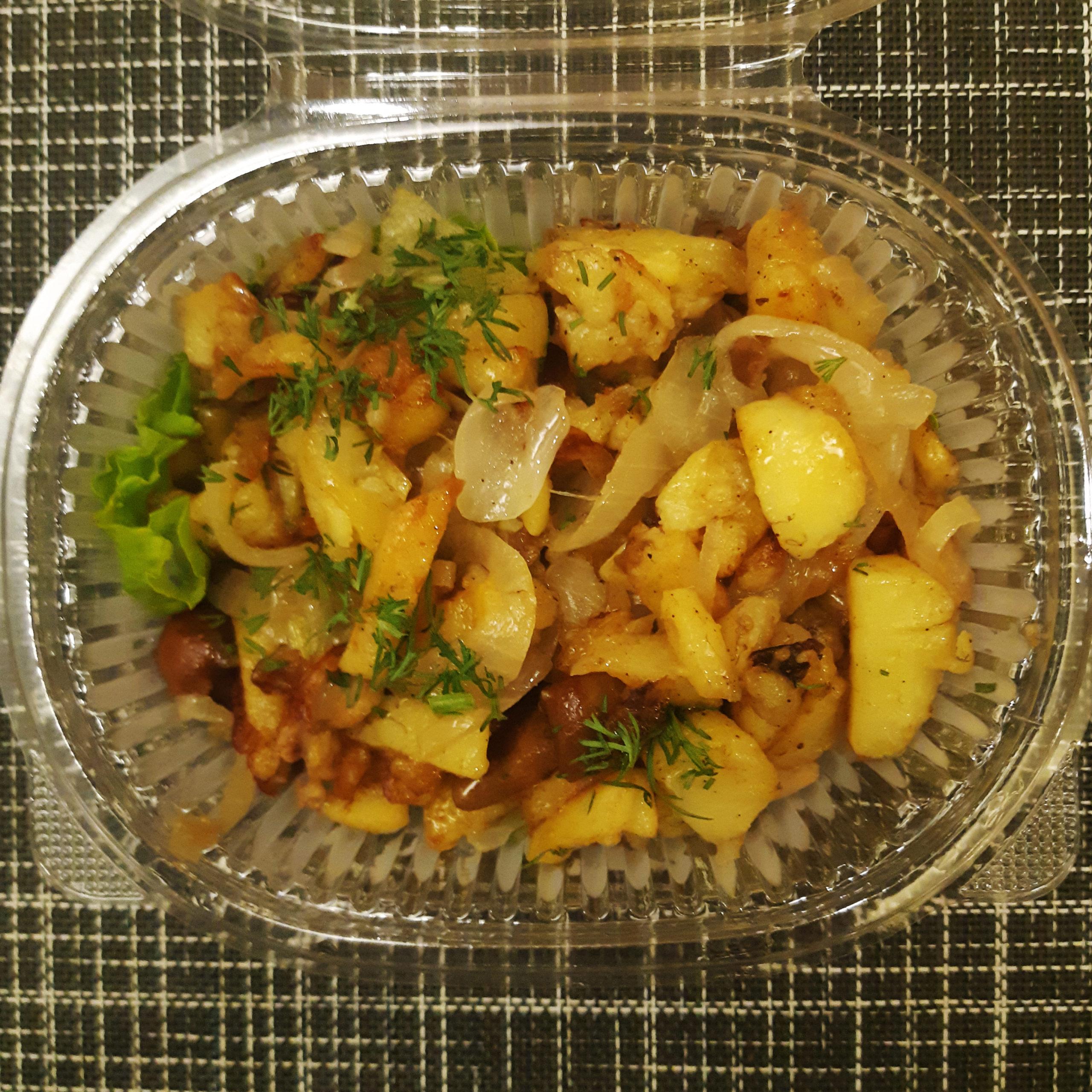 салат жареная картошка грибы